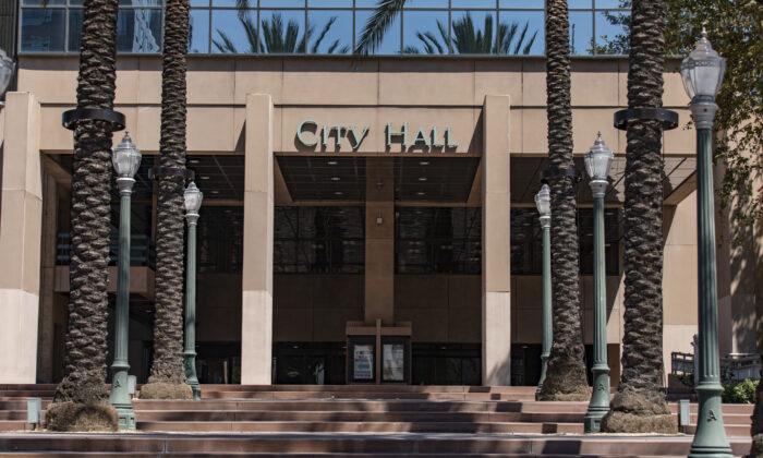 Anaheim City Hall in Anaheim, Calif., on Aug. 26, 2021. (John Fredricks/The Epoch Times)
