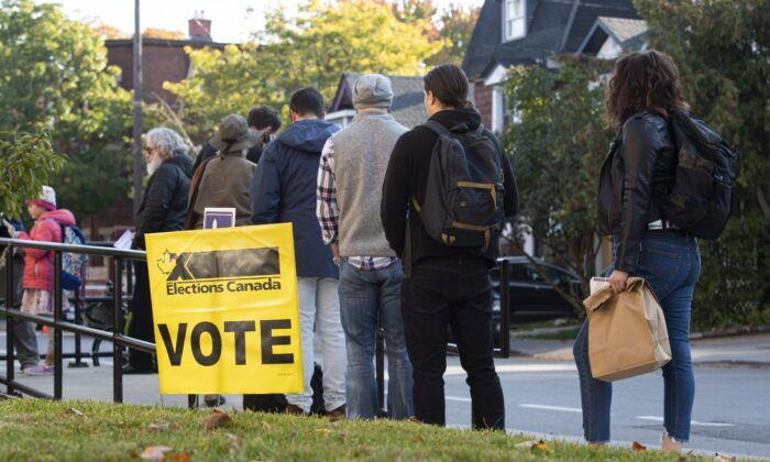 People line up to enter a polling station on election day of the 2019 federal election, in Ottawa on Oct. 21, 2019. (The Canadian Press/Justin Tang)