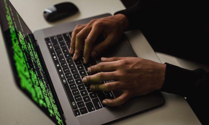 Crop cyber spy hacking system while typing on laptop. (Sora Shimazaki/Pexels)