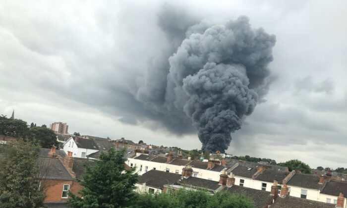 Huge plumes of smoke can be seen rising from a fire in Leamington Spa on Aug. 27, 2021. (West Midlands Ambulance Service/PA)
