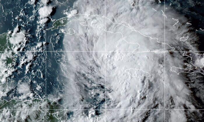 A satellite image shows Hurricane Ida in the Caribbean Sea, on Aug. 26, 2021, at 10:20 p.m. ET. (NOAA via AP)