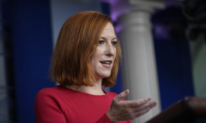 White House Press Secretary Jen Psaki speaks during the daily press briefing at the White House in Washington, on Aug. 25, 2021. (Drew Angerer/Getty Images)