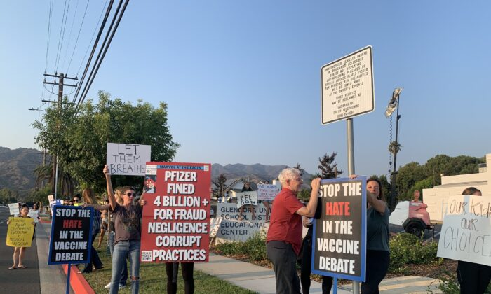Dozens of parents protest against the district's mask mandate during a meeting of the Glendora Unified School District at Sellers Elementary School in Glendora, Los Angeles County, on Aug. 23, 2021. (Linda Jiang/The Epoch Times)