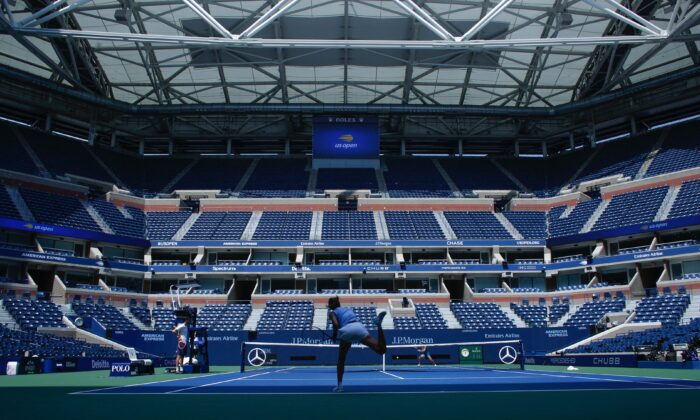 A player trains during qualifying sessions ahead of the 2021 U.S. Open Tennis tournament at the Billie Jean King National Tennis Center in Queens, New York, on Aug. 27, 2021. (Kena Betancur/AFP via Getty Images)