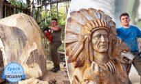 Chainsaw Artists Carves Larger-Than-Life-Size Native American Portrait out of Tree Trunk
