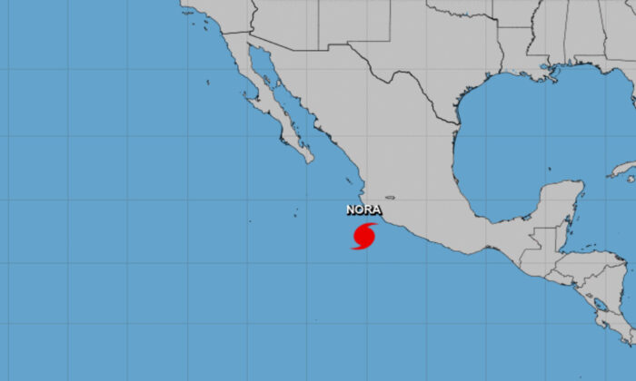 Hurricane Nora formed early Saturday in the eastern Pacific, on Aug. 28, 2021. (Courtesy of NOAA)