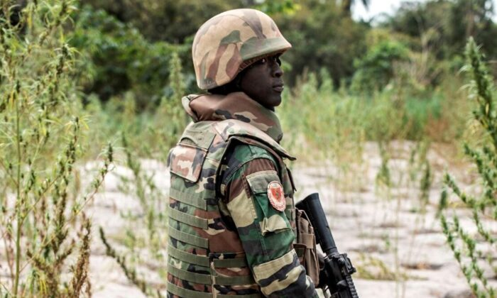 A member of the Senegalese Armed Forces, Senegal, on Feb. 9, 2021. (John Wessels/AFP via Getty Images)