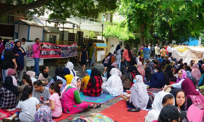 Afghan woman protestors outside the UNHCR office in New Delhi on Aug. 27, 2021. On protest at the site since Aug. 22, they are demanding reopening of closed cases and fast tracking of resettlement. (Naimisha)