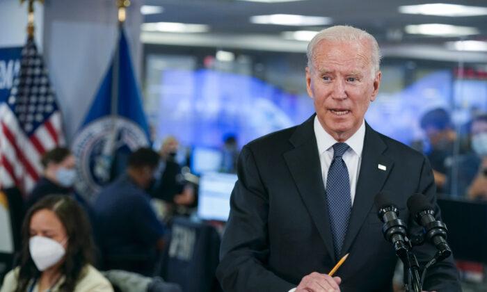 President Joe Biden speaks at the National Response Coordination Center at FEMA headquarters in Washington, on Aug. 29, 2021. (Manuel Balce Ceneta/AP Photo)