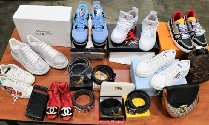 More than 39,000 counterfeit products in two shipments arriving from China seized by Customs and Border Protection officials at Los Angeles–Long Beach Seaport on July 19 and July 30, 2021. (Courtesy of Customs and Border Protection)
