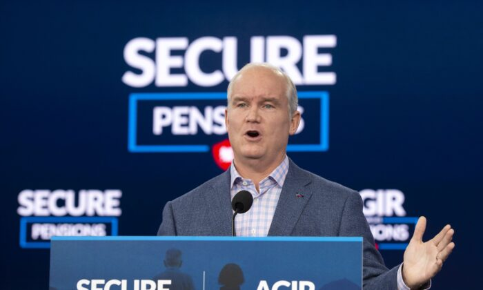 Conservative Leader Erin O'Toole speaks to the media while campaigning in Ottawa on Aug. 24, 2021. (The Canadian Press/Ryan Remiorz)
