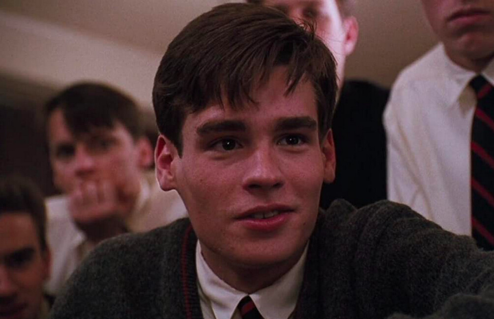 boys in a classroom in Dead Poets Society