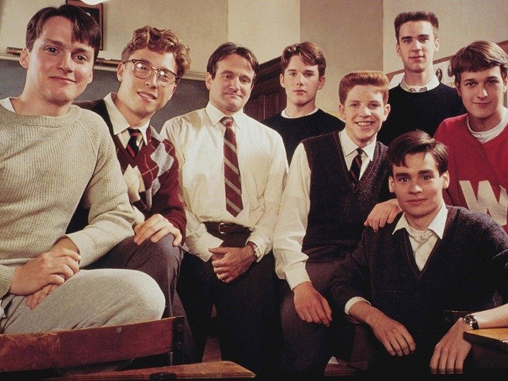 classroom of boys in Dead Poets Society