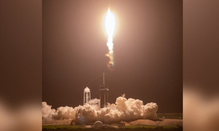 A SpaceX Falcon 9 rocket, topped with the uncrewed Dragon spacecraft, soars upward after lifting off from NASA Kennedy Space Center's Launch Complex 39A in Florida at 3:14 a.m., on Aug. 29, 2021. (Kim Shiflett/NASA)