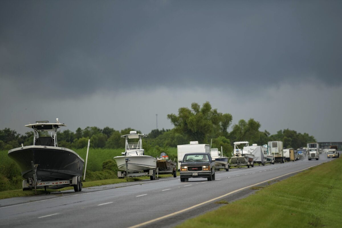 Boats, trailers and RVs line Louisiana Highway 46