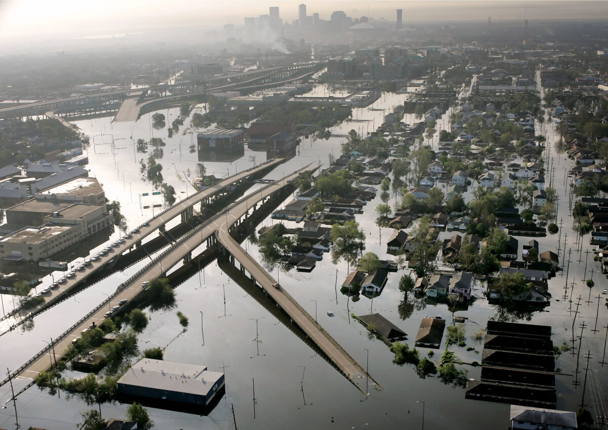 Floodwaters from Hurricane Katrina
