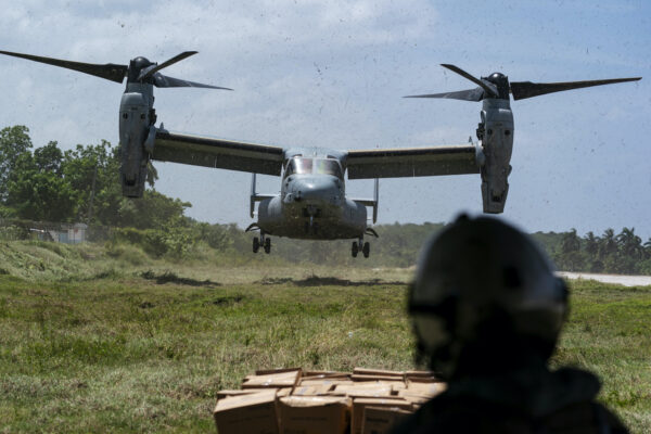 A VM-22 Osprey with a load of aid lands