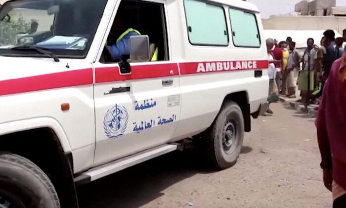 An ambulance outside a hospital in Lahj, Yemen, on Aug. 29, 2021. (Reuters/Screenshot via The Epoch Times)
