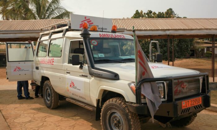 A Doctors Without Borders Ambulance in Cameroon. (Nalova Akua/The Epoch Times)