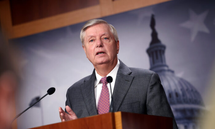 Sen. Lindsey Graham (R-S.C.) during a news conference at the U.S. Capitol in Washington, on July 30, 2021. (Kevin Dietsch/Getty Images)