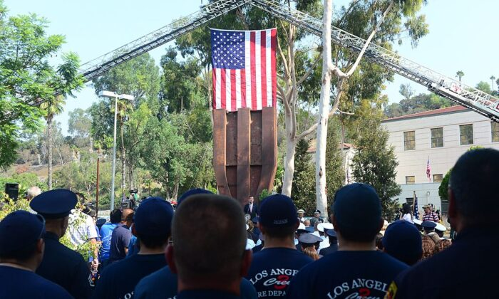 In this file photo, an event is held in front of the World Trade Center Memorial at the Los Angeles Fire Department Frank Hotchkin Memorial Training Center in Los Angeles on Sept. 11, 2013. (Frederic J. Brown/AFP via Getty Images)