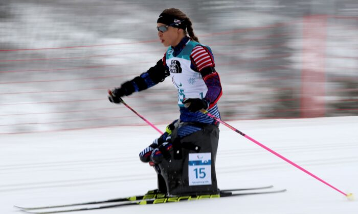 Oksana Masters is on her way to a silver medal in the Biathlon Women's 12.5km Sitting event during the 2018 Winter Paralympics at the Alpensia Biathlon Centre in Pyeongchang, South Korea, on March 16, 2018. (Ng Han Guan/AP Photo)