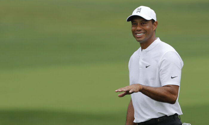 Tiger Woods walks up the 3rd during a practice round of the Masters at Augusta National Golf Club in Augusta, Ga., on Nov. 11, 2020. (Mike Segar/Reuters)