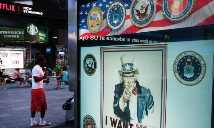 A military recruitment center in Times Square in Manhattan in New York City on Sept. 4, 2020. (Spencer Platt/Getty Images)
