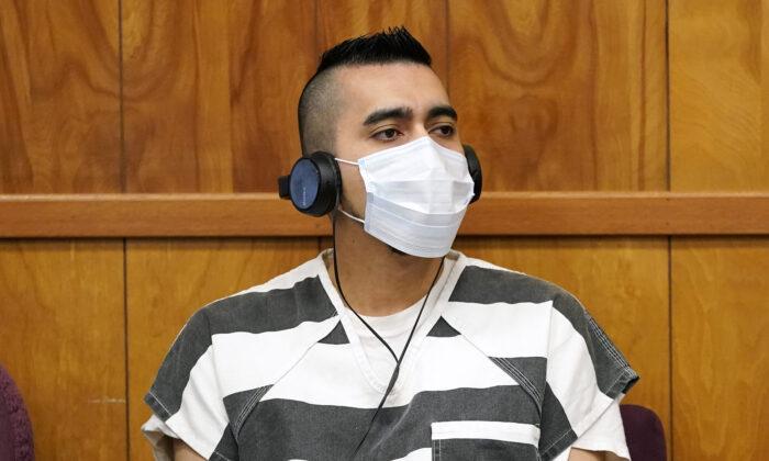 Cristhian Bahena Rivera listens to proceedings during his sentencing, at the Poweshiek County Courthouse in Montezuma, Iowa, on Aug. 30, 2021. (Charlie Neibergall/Pool/AP Photo)