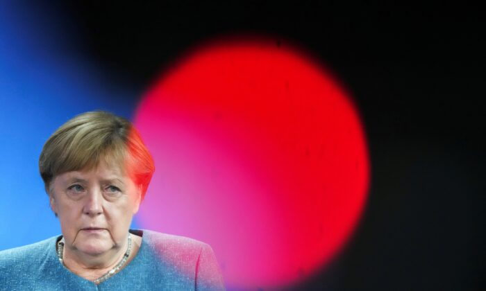 German Chancellor Angela Merkel attends a news conference at the chancellery in Berlin on Aug. 31, 2021. (Kay Nietfeld/Pool via Reuters)