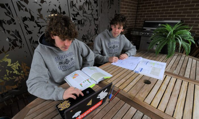 Year 12 students studying for HSC exams at home in their residence in Melbourne, Australia, on Aug. 27, 2021. (AAP Image/James Ross)