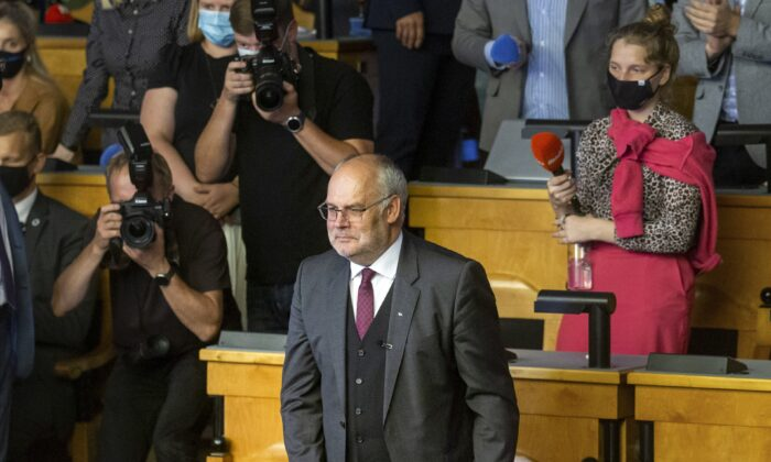 Alar Karis, a former state auditor and university head, delivers his speech at Estonia's Parliament in Tallinn, Estonia, on Aug. 31, 2021. (Raul Mee/AP Photo)