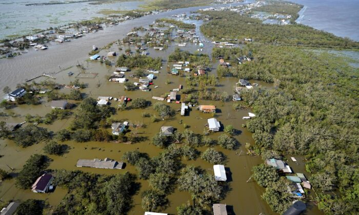 Homes are flooded in the aftermath of Hurricane Ida in Lafitte, La., on Aug. 30, 2021. (David J. Phillip/AP Photo)