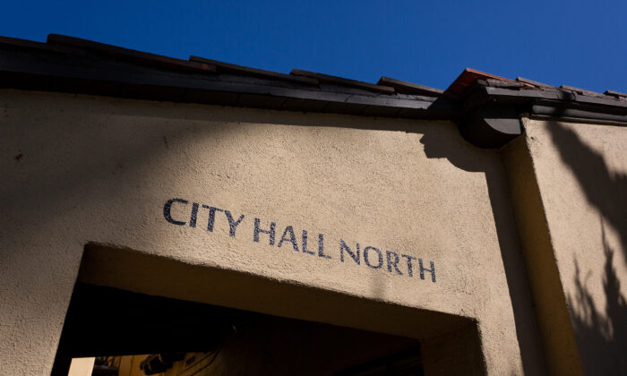 Laguna Beach City Hall area in Laguna Beach, Calif., on October 15, 2020. (John Fredricks/The Epoch Times)