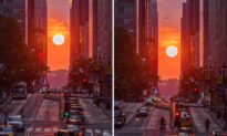 Time-Lapse Video Shows Mind-Blowing 'Manhattanhenge' With Busy Street and Plane Overhead