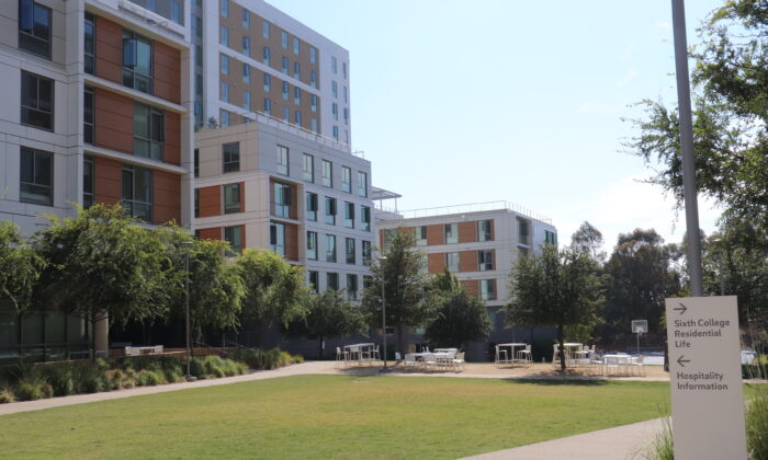 The University of California—San Diego (UCSD) will resume face-to-face classes in the fall of 2021. As the semester begins, many students struggled to find housing. The picture shows the newly completed North Torrey Pines dormitory in UCSD. (Tina Deng/The Epoch Times)