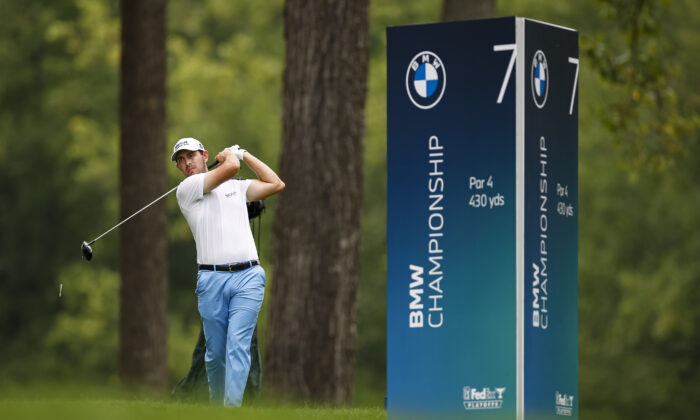 Patrick Cantlay plays his shot from the seventh tee during the final round of the BMW Championship golf tournament in Owings Mills, Md., on Aug. 29, 2021. (Scott Taetsch-USA TODAY Sports via Reuters)