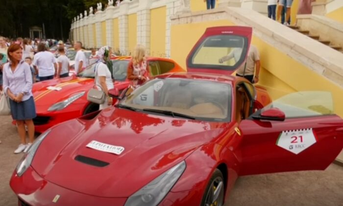 """An array of rare and expensive vehicles during the annual """"Autoculture"""" festival at the Museum-Estate """"Arkhangelskoye"""" in the Moscow region, Russia, on Aug. 29, 2021. (AP/Screenshot via The Epoch Times)"""