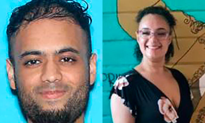 In undated file photographs, Imran Ali Rasheed, left, and Isabella Lewis are seen. Rasheed is suspected of murdering Lewis before opening fire in Plano, Texas, on Aug. 29, 2021. (Garland Police Department via AP)