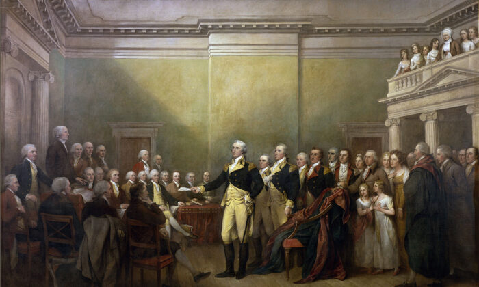 """""""General George Washington Resigning His Commission"""" by John Trumbull, 1817–1824. Oil on canvas; 12 feet by 18 feet. United States Capitol. (Public domain)"""