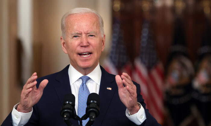 President Joe Biden delivers remarks on the end of the war in Afghanistan in the State Dining Room at the White House on Aug. 31, 2021. (Chip Somodevilla/Getty Images)
