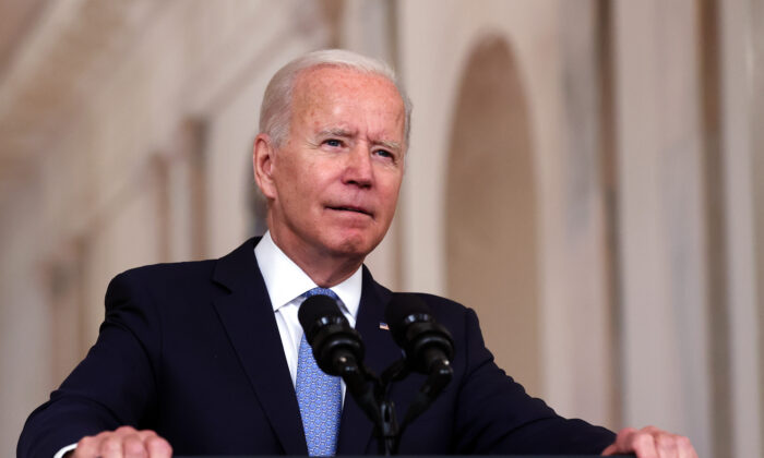 President Joe Biden delivers remarks on the end of the war in Afghanistan in the State Dining Room at the White House in Washington on Aug. 31, 2021. (Chip Somodevilla/Getty Images)