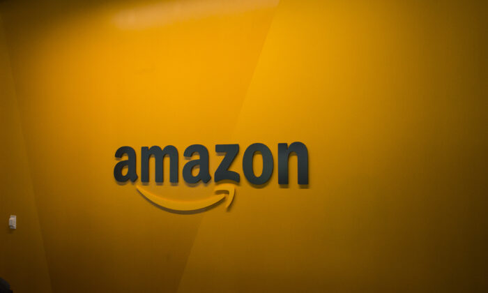 An Amazon logo is seen inside the Amazon corporate headquarters in Seattle, Washington, on June 16, 2017. (David Ryder/Getty Images)