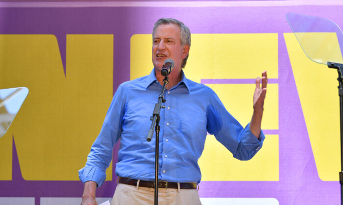 New York City Mayor Bill de Blasio speaks at Times Square in New York City on June 5, 2021. (Bryan Bedder/Getty Images for New 42)