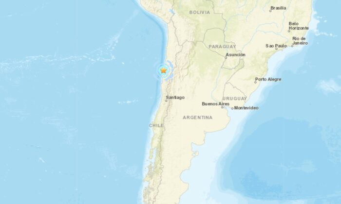 A map showing the location of an earthquake striking near the coast of northern Chile on Sept. 1, 2021. (Google Maps)