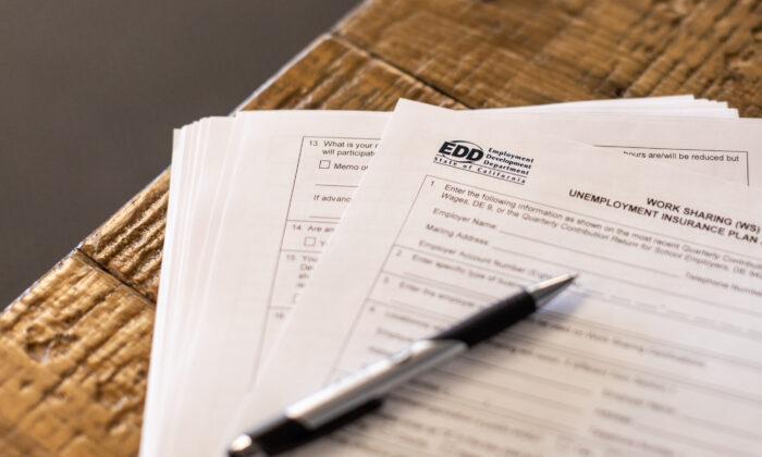 Employmemnt Development Department paperwork in Irvine, Calif., on April 2, 2021. (John Fredricks/The Epoch Times)