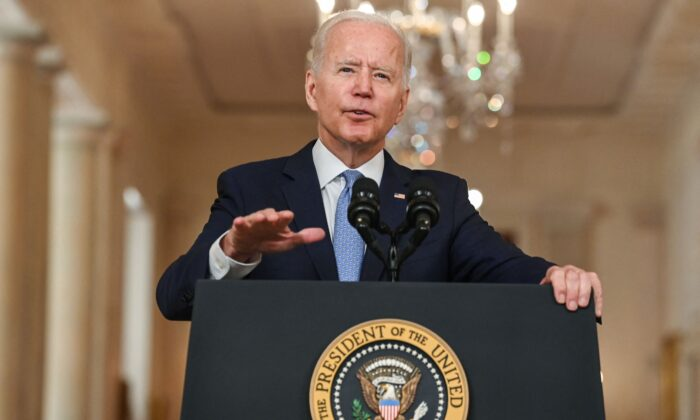 President Joe Biden speaks on ending the war in Afghanistan in the State Dining Room at the White House in Washington on Aug. 31, 2021.  (Brendon Smialowski/AFP via Getty Images)