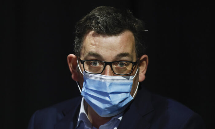 Victorian Premier Daniel Andrews looks on during a press conference in Melbourne, Australia, on Sept. 1, 2021. (Daniel Pockett/Getty Images)