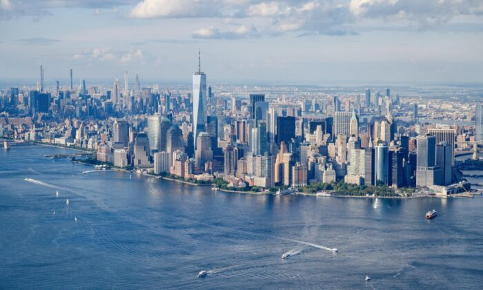 A general view shows the city skyline of lower Manhattan and New York City on Aug. 5, 2021. (Ed Jones/AFP via Getty Images)