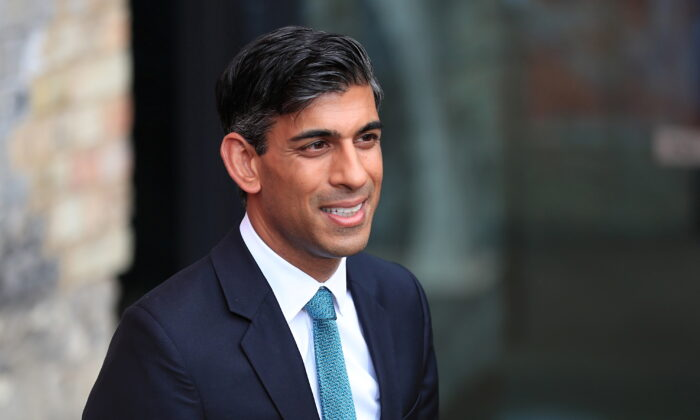 Britain's Chancellor of the Exchequer Rishi Sunak in London on Sept. 14, 2021. (May James/Reuters)